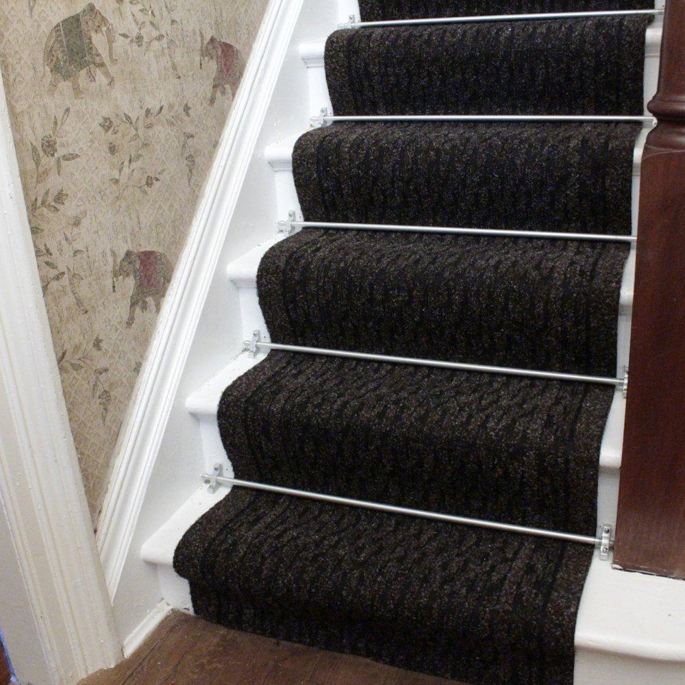 black carpet runner for stairs photo - 9