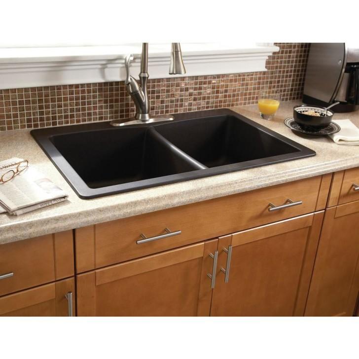 black composite granite kitchen sink photo - 10