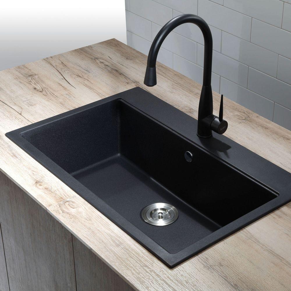 black composite granite kitchen sink photo - 2