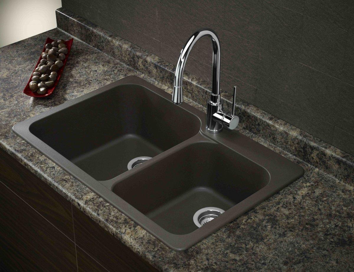 black composite granite kitchen sink photo - 3