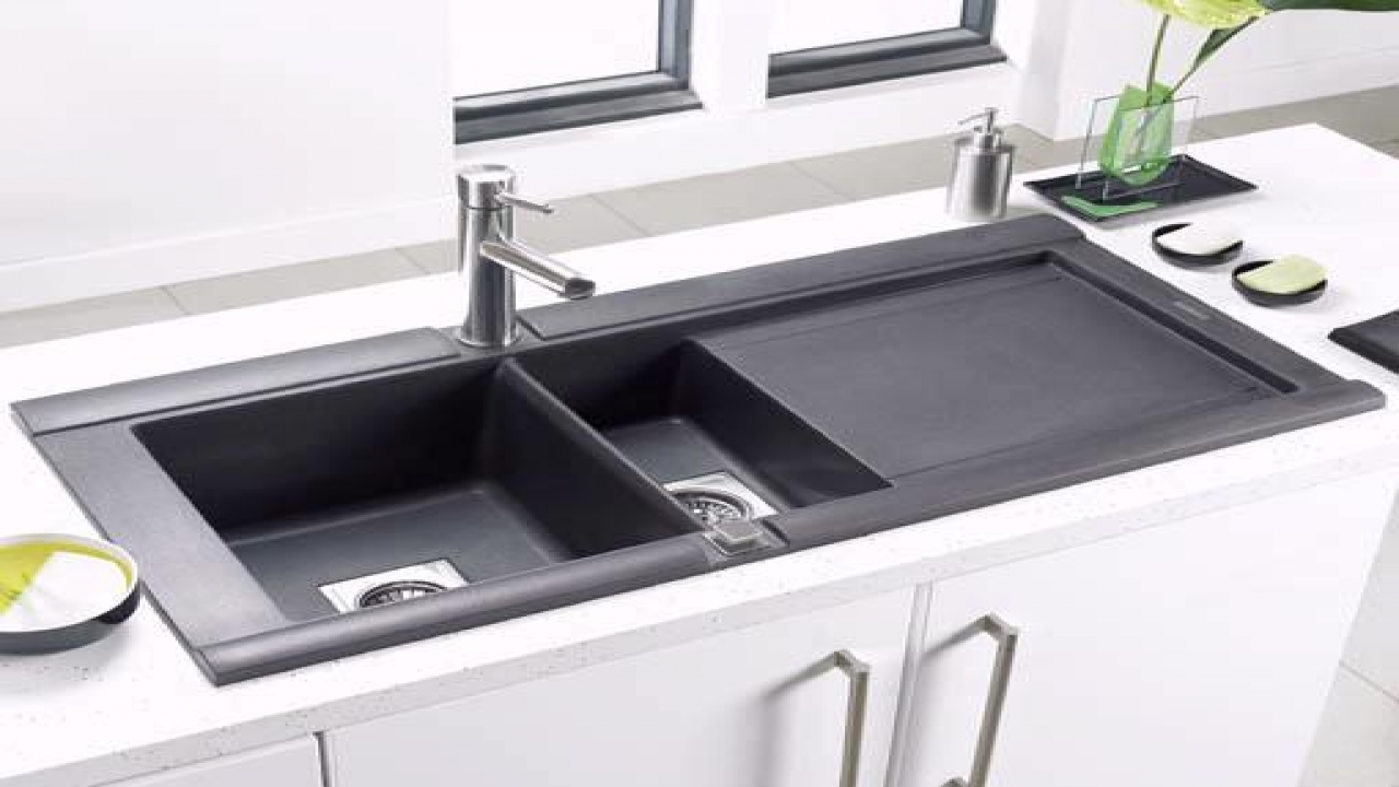 black composite granite kitchen sink photo - 4
