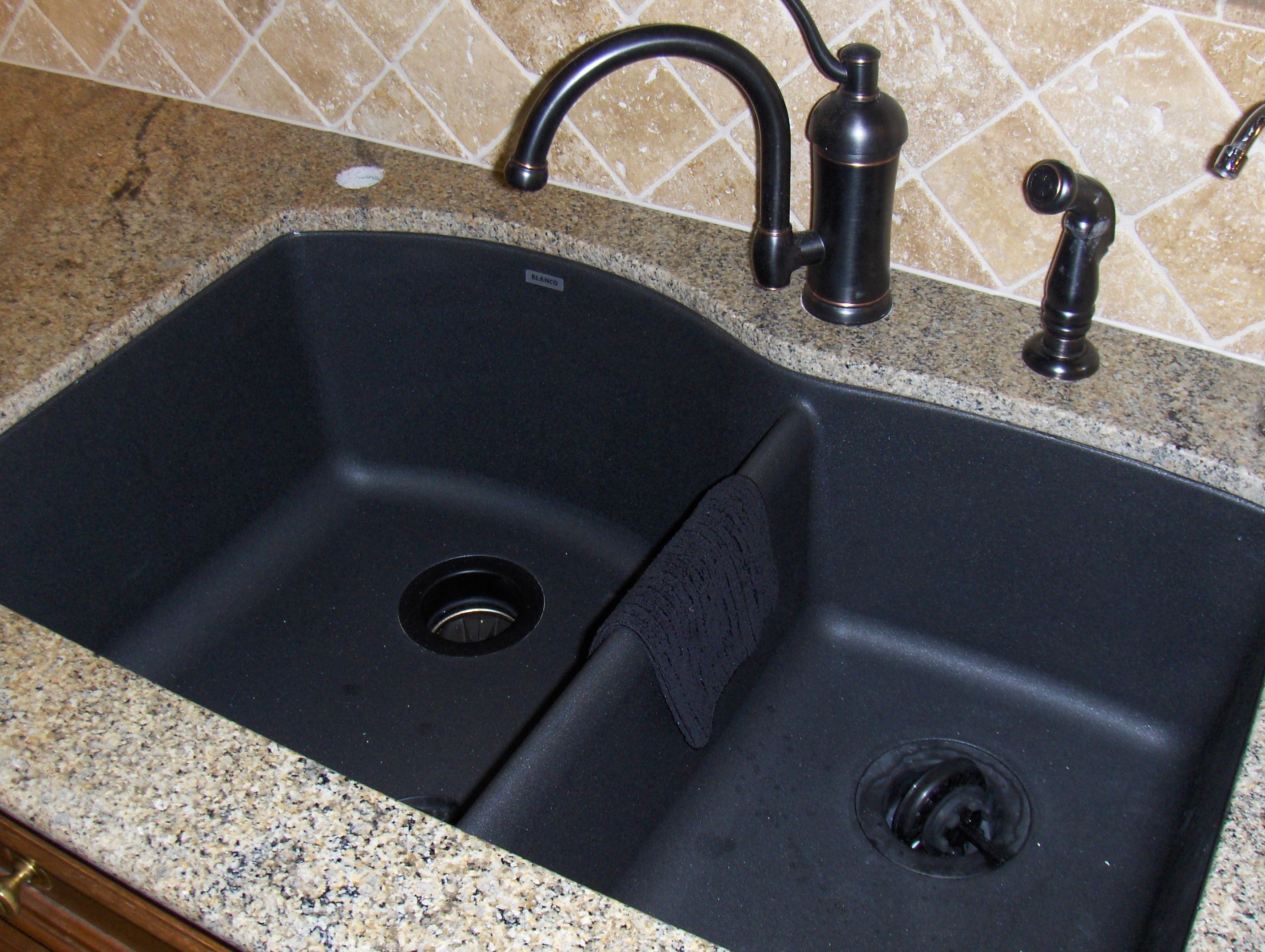 black composite granite kitchen sink photo - 8
