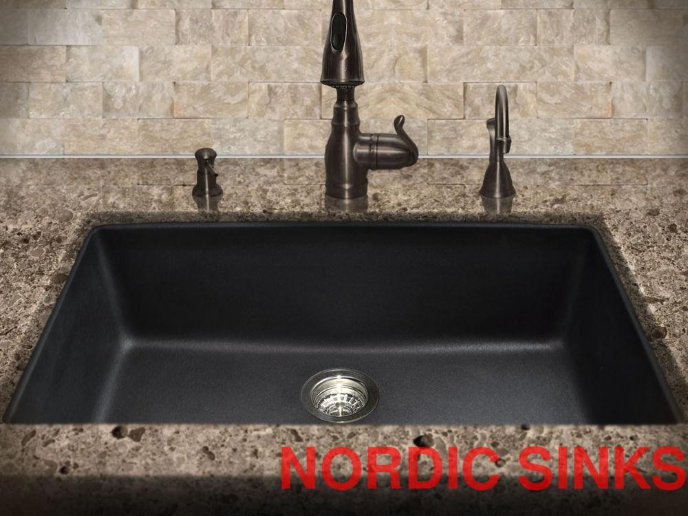 black composite granite kitchen sink photo - 9