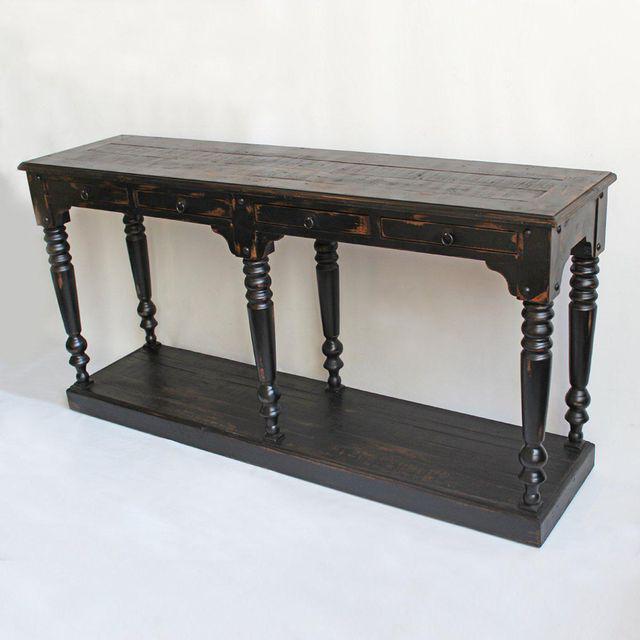 black distressed sofa table photo - 8