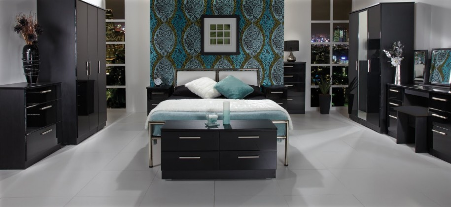 black gloss bedroom design photo - 2