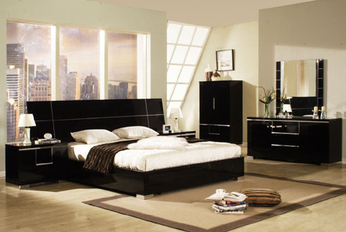 black gloss bedroom design photo - 6