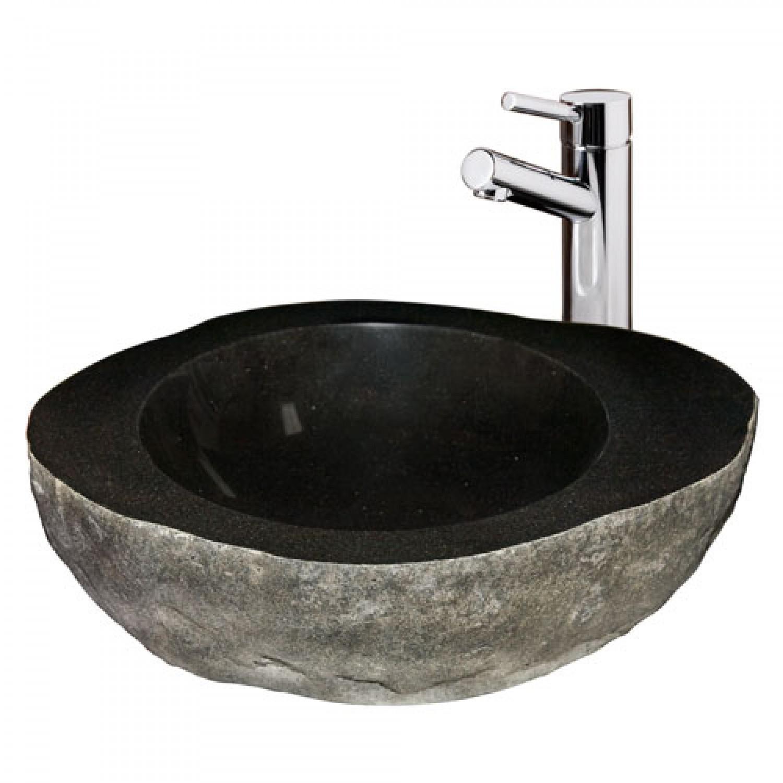 black granite bathroom sink photo - 1