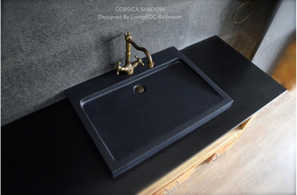 black granite bathroom sink photo - 3