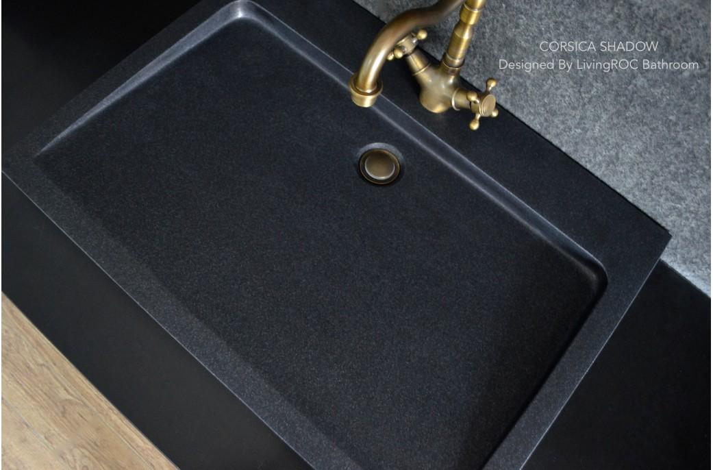 black granite bathroom sink photo - 4