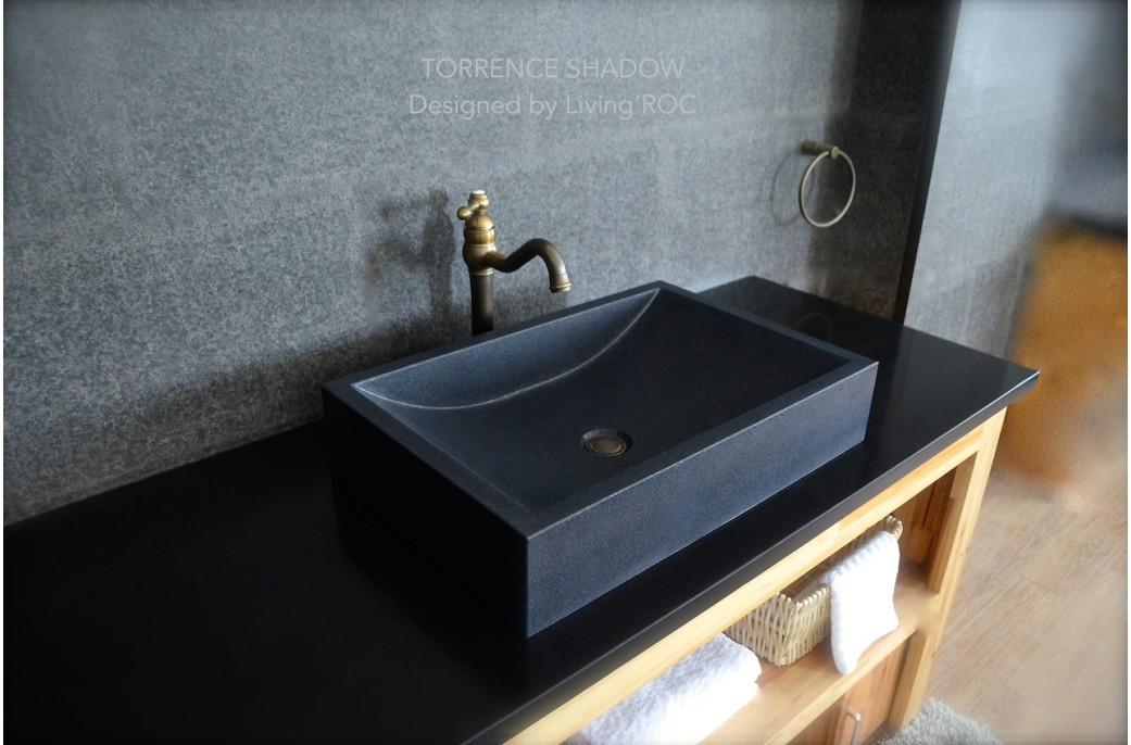 black granite bathroom sink photo - 5