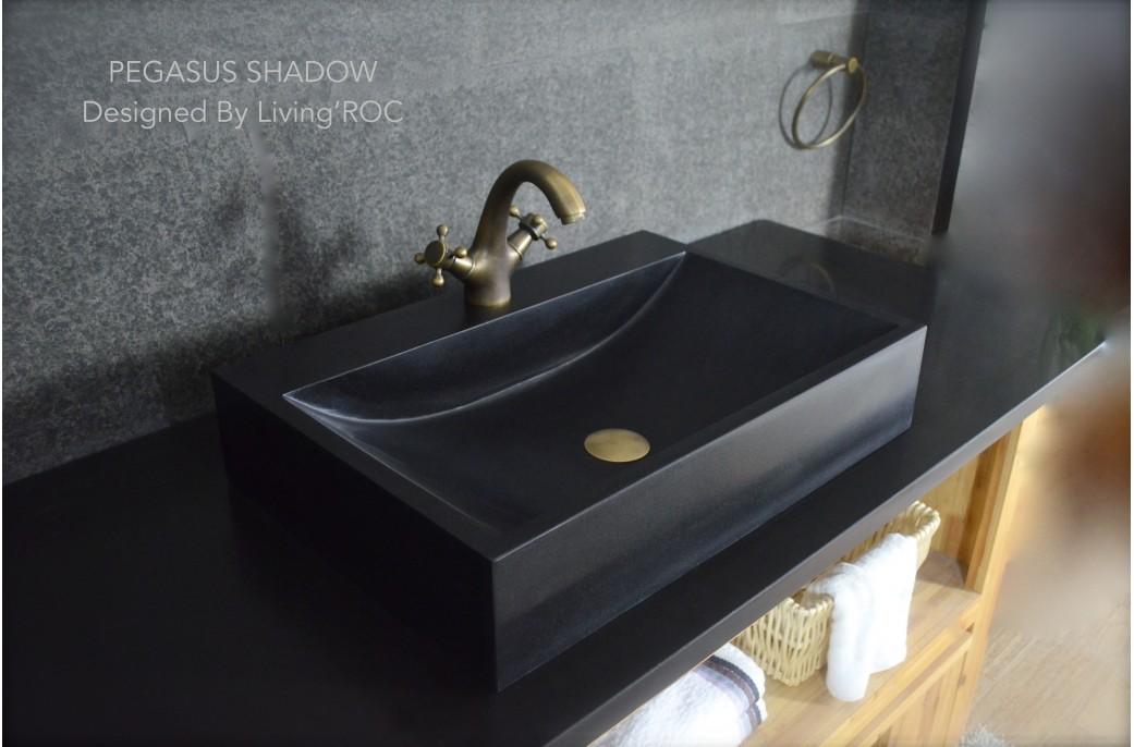 black granite bathroom sink photo - 7