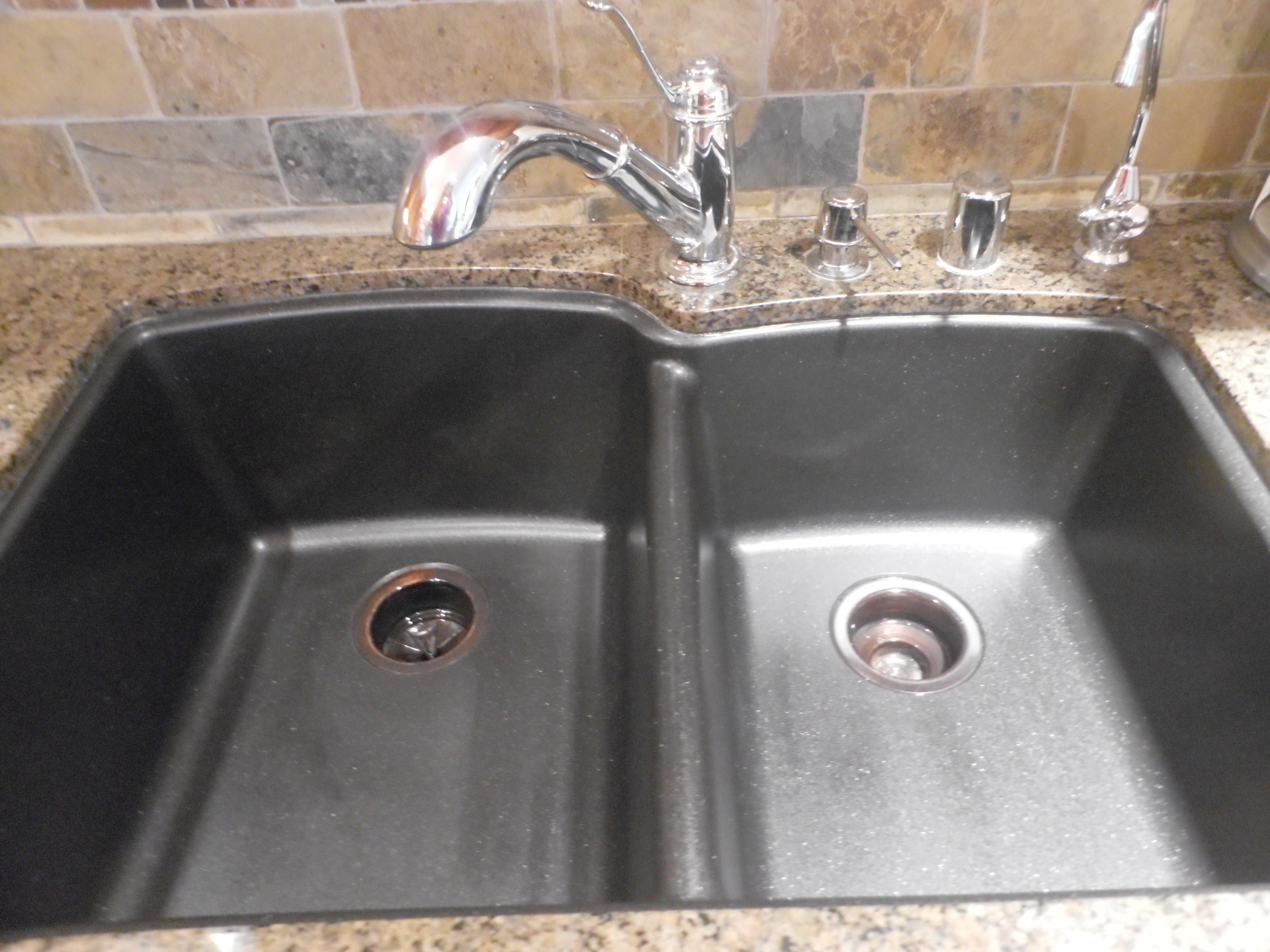 black granite composite sink care photo - 10