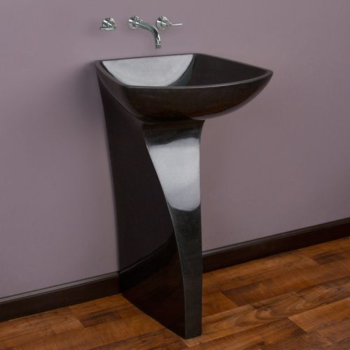 black granite pedestal sink photo - 10