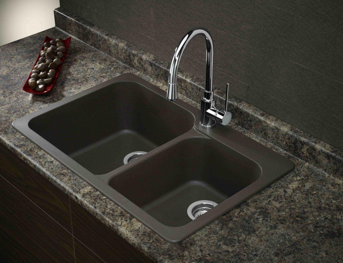 black granite sink and faucet photo - 3