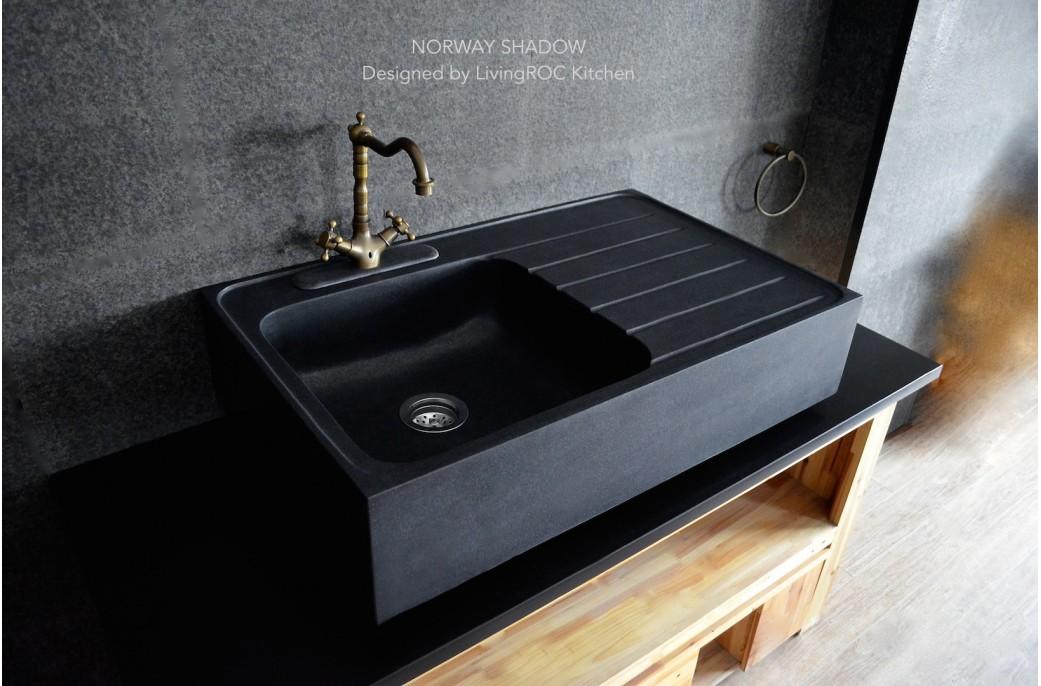 black granite sink and faucet photo - 9