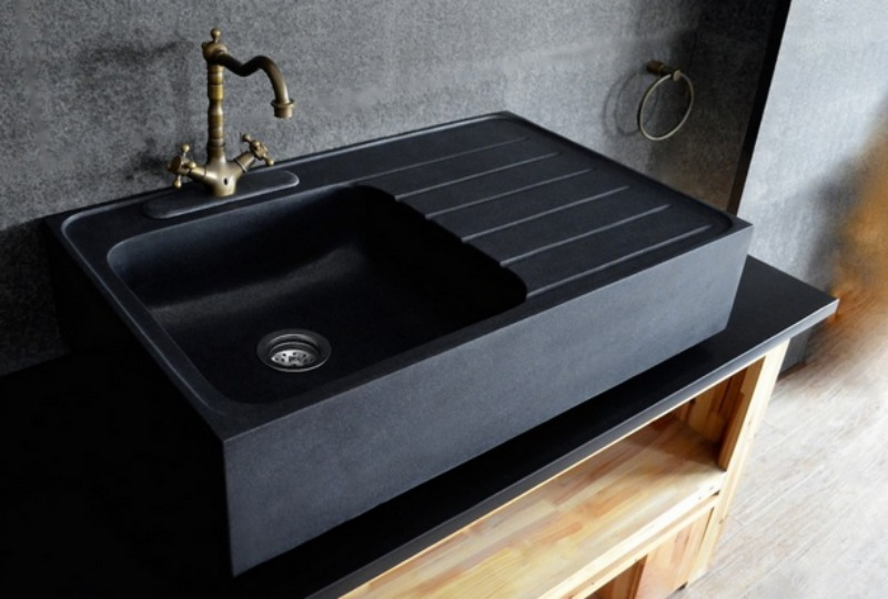 black granite sinks kitchens photo - 3