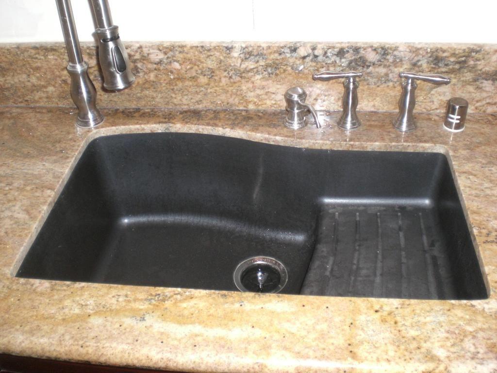black granite sinks kitchens photo - 4