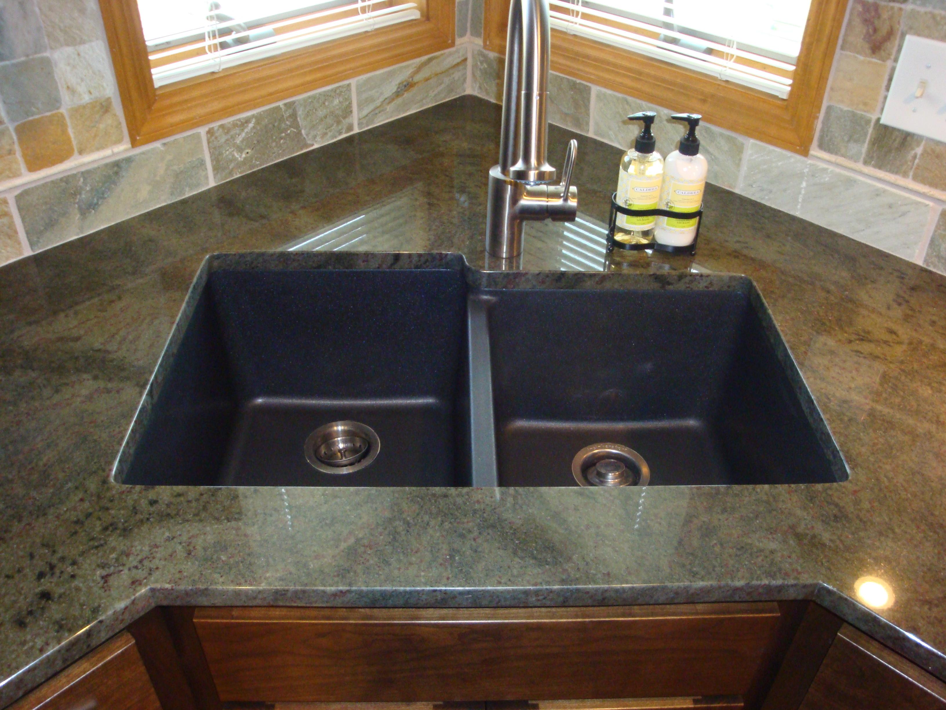 black granite sinks kitchens photo - 9