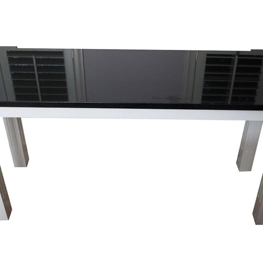 black granite sofa table photo - 1
