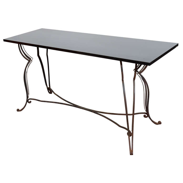 black granite sofa table photo - 5