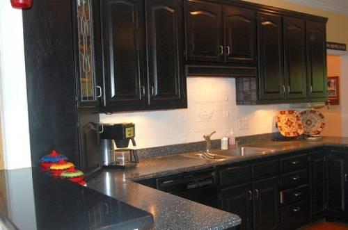 black kitchen cabinets and granite countertops photo - 7