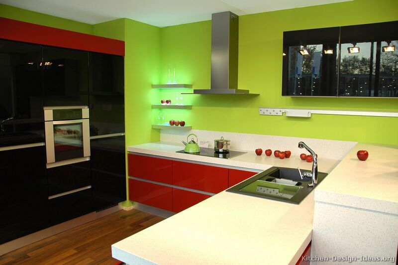 black kitchen cabinets and green walls photo - 7