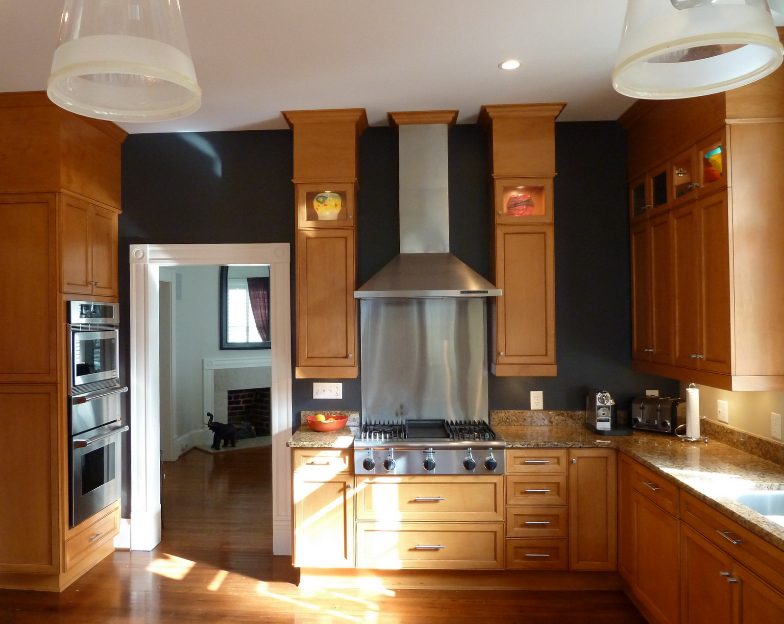 black kitchen cabinets and wall color photo - 1
