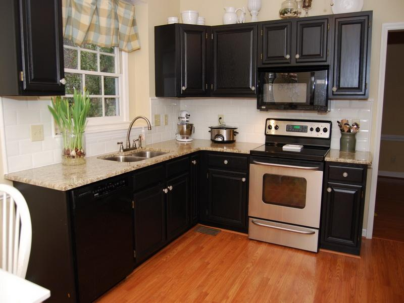 black kitchen cabinets and wall color photo - 10