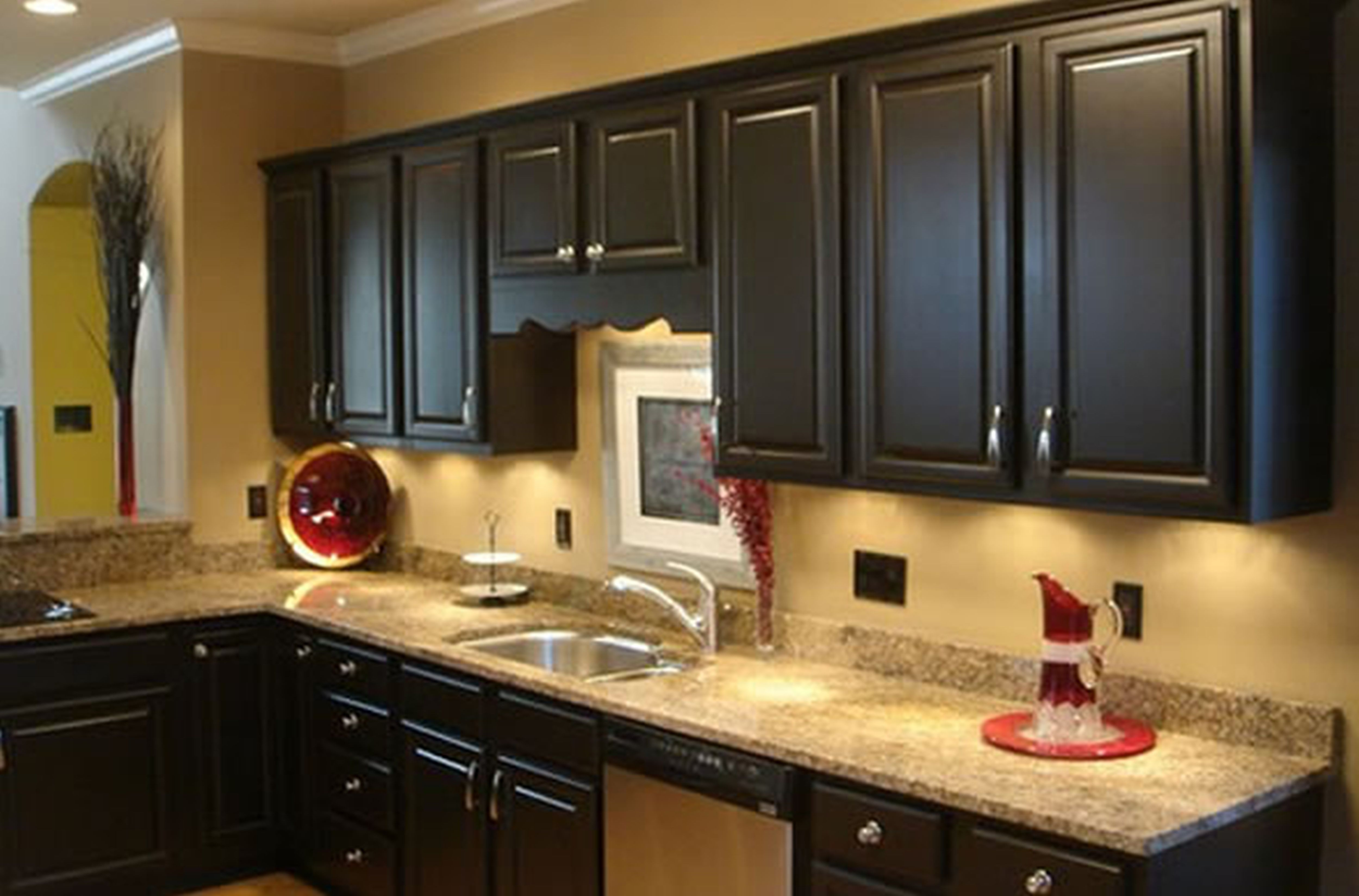 black kitchen cabinets and wall color photo - 2