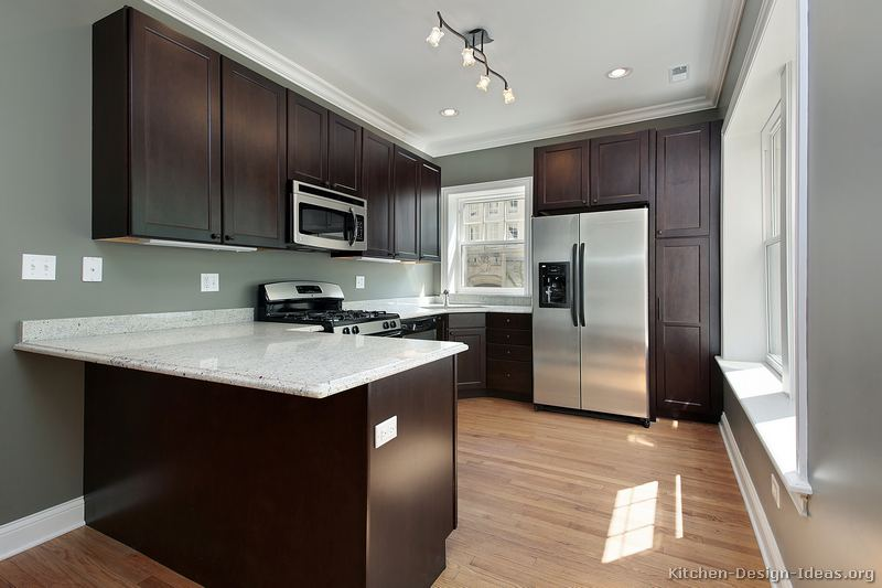 black kitchen cabinets and wall color photo - 5