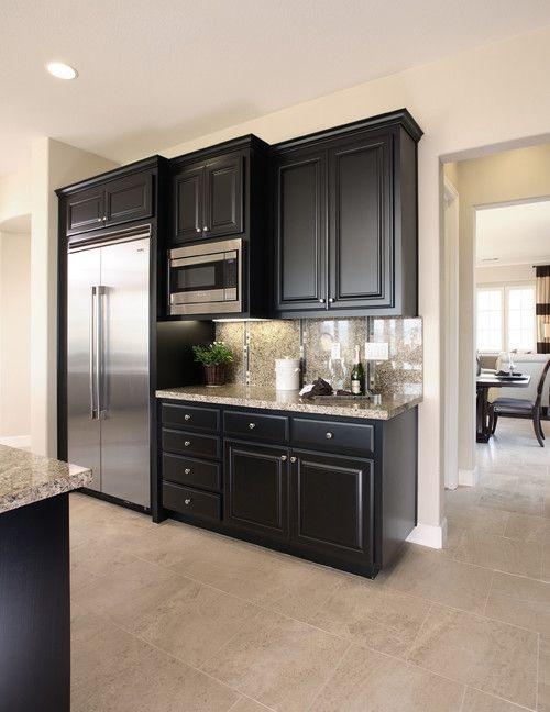 black kitchen cabinets small kitchen photo - 5