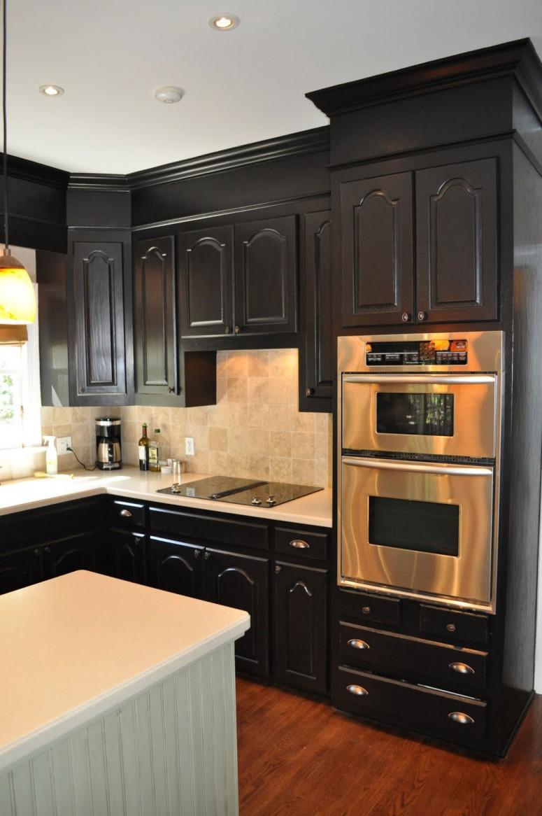 black kitchen cabinets small kitchen photo - 6