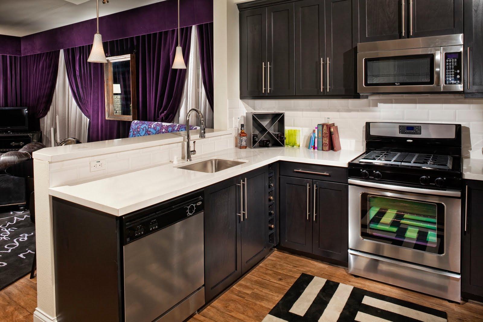 black kitchen cabinets small kitchen photo - 8
