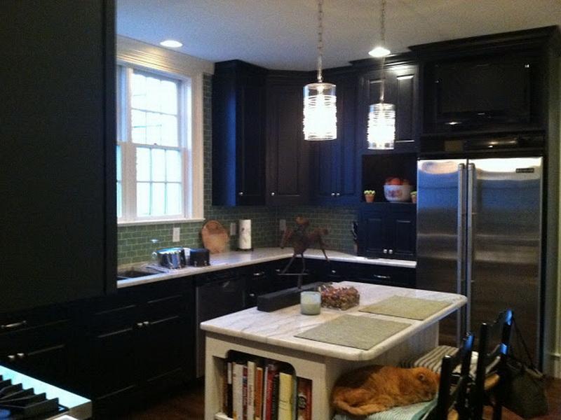 black kitchen cabinets small kitchen photo - 9