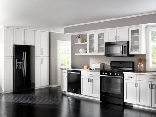 black kitchen cabinets with black appliances photo - 2