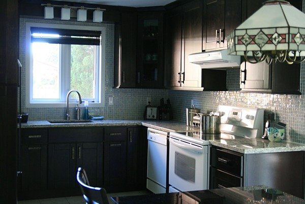 black kitchen cabinets with black appliances photo - 4
