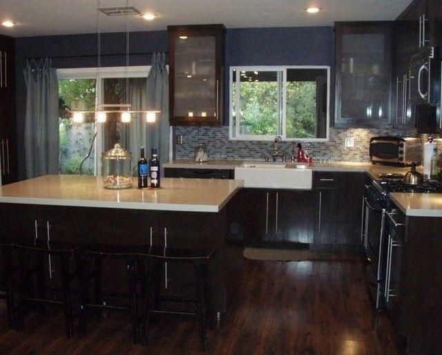 black kitchen cabinets with dark floors photo - 1