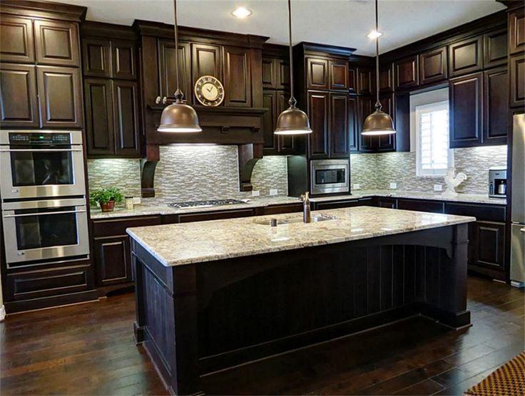 black kitchen cabinets with dark floors photo - 10