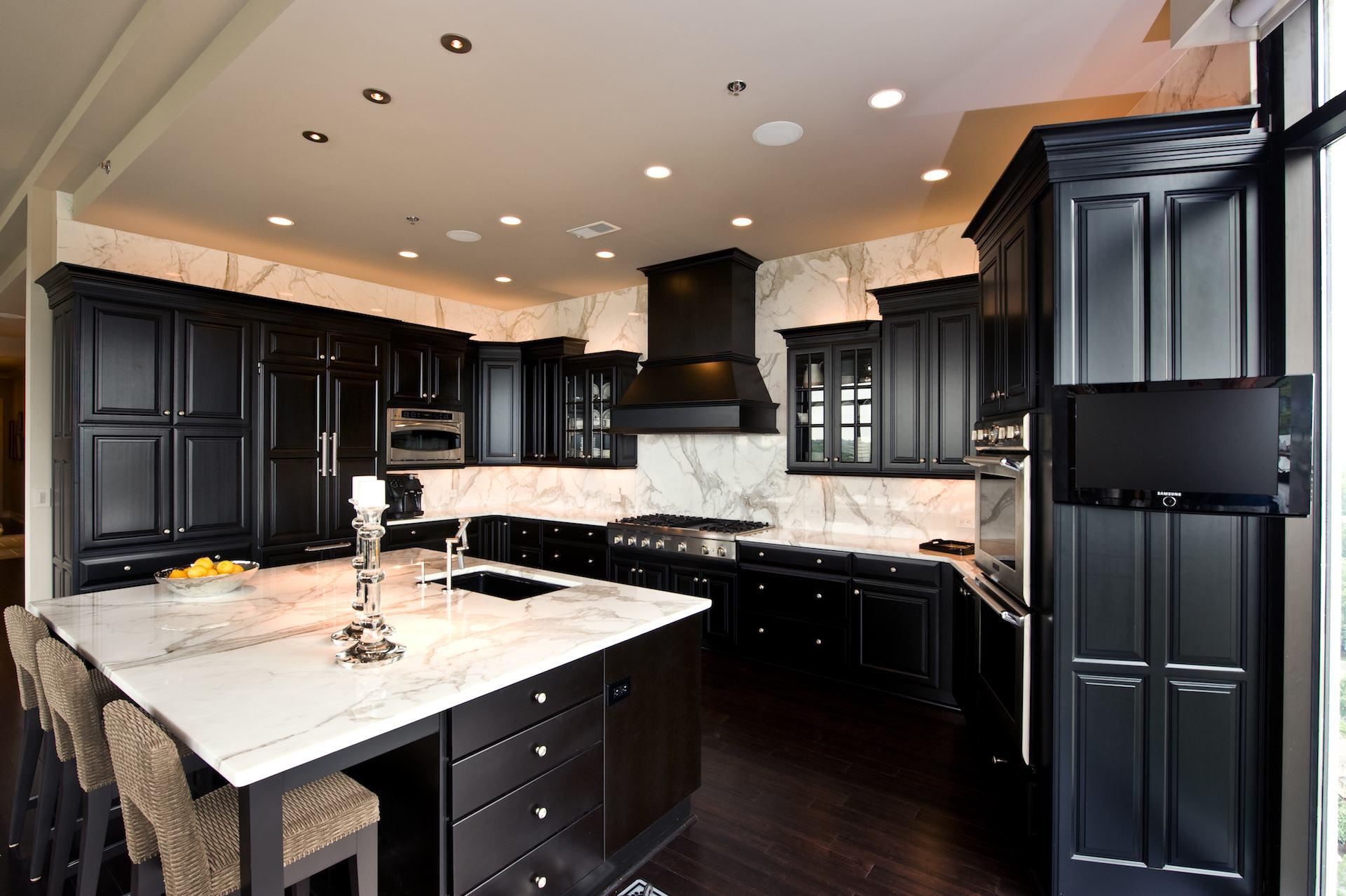 black kitchen cabinets with dark floors photo - 4