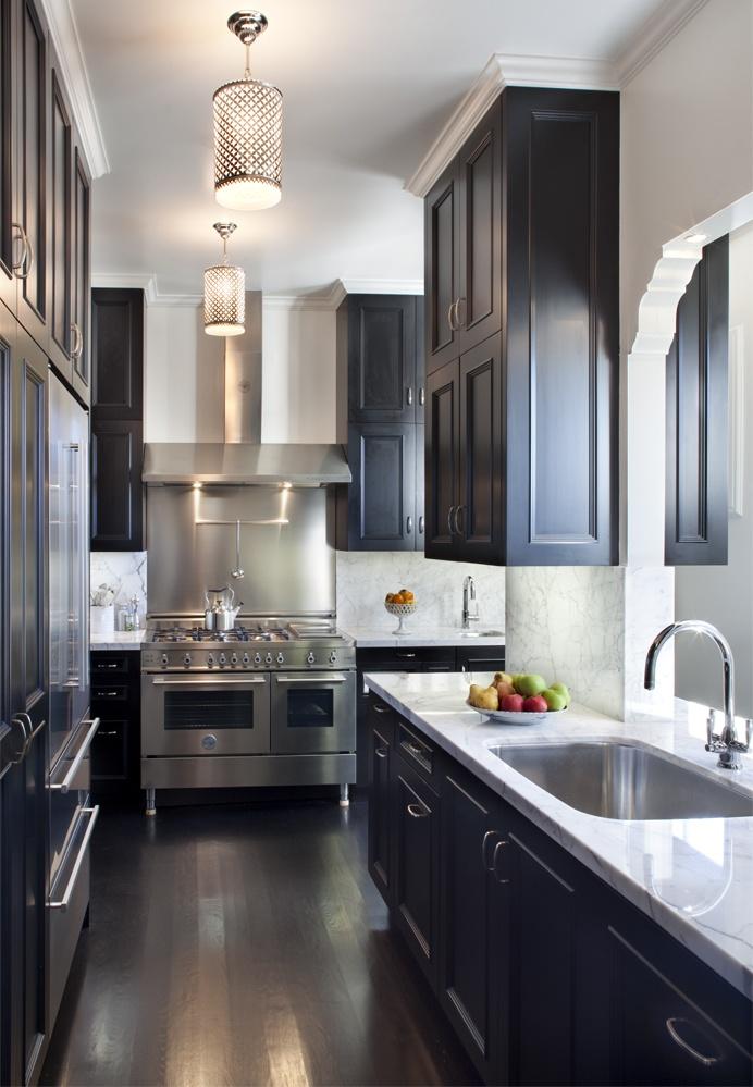 black kitchen cabinets with dark floors photo - 5