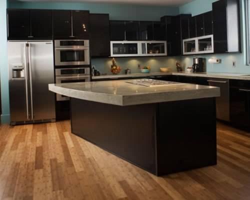 black kitchen cabinets with dark floors photo - 6