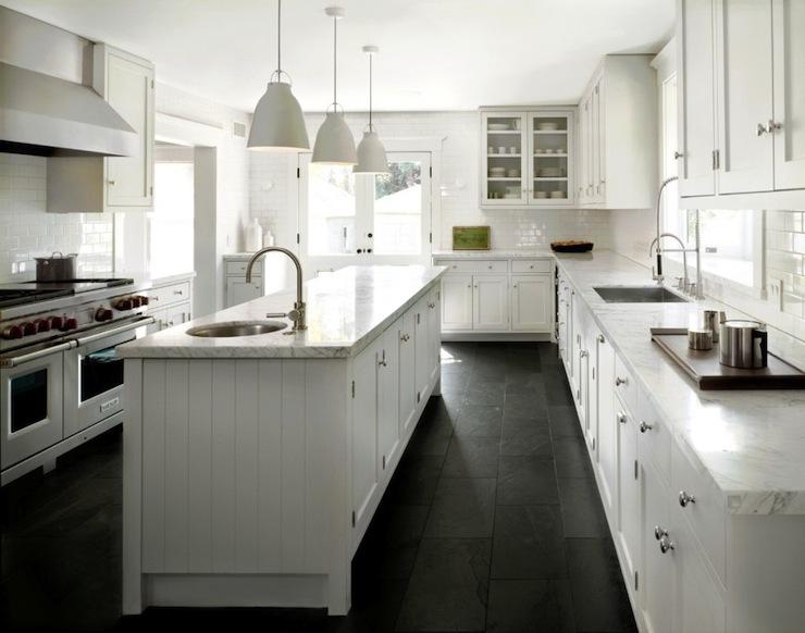 black kitchen cabinets with dark floors photo - 9