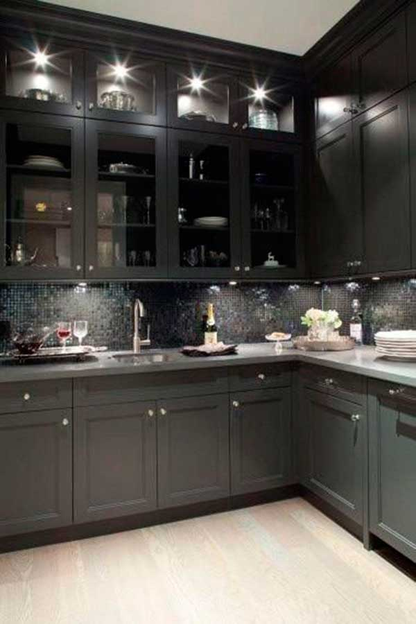 black kitchen cabinets with glass doors photo - 1