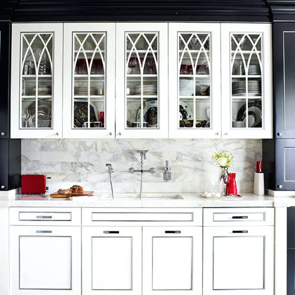 black kitchen cabinets with glass doors photo - 5