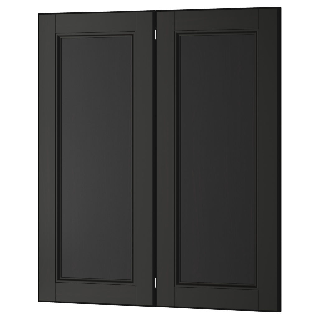 black kitchen cabinets with glass doors photo - 7