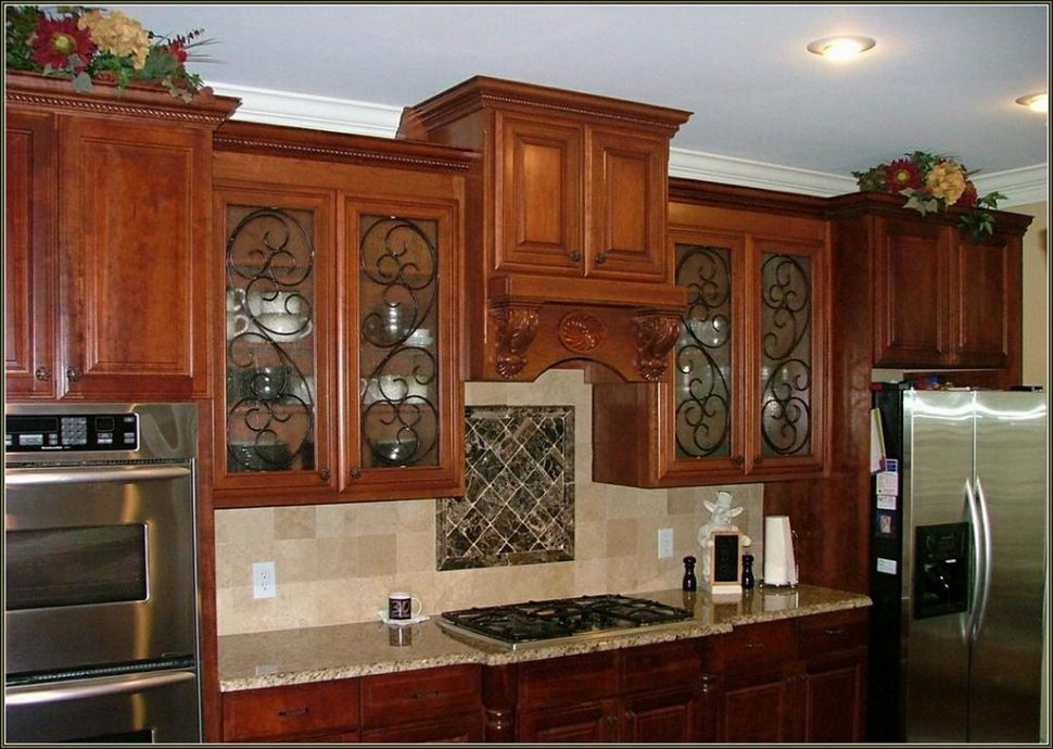 black kitchen cabinets with glass doors photo - 9