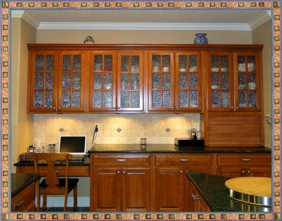 black kitchen cabinets with glass inserts photo - 10