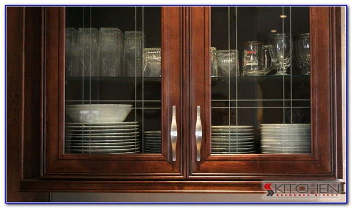 black kitchen cabinets with glass inserts photo - 7
