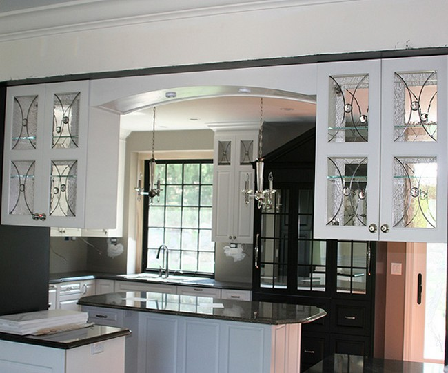 black kitchen cabinets with glass inserts photo - 8