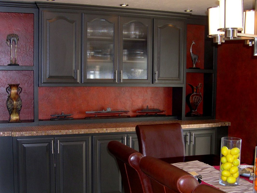 Black Kitchen Cabinets With Red Walls Photo 1